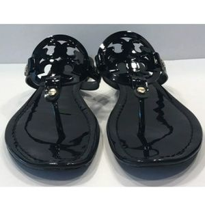 Tory Burch Miller Sandals Black Patent Leather